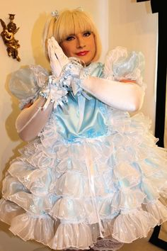 Sissy Maid Isla in baby blue dress with lots of frills