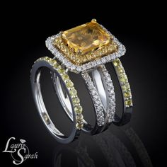 Radiant Cut Citrine Engagement Ring with Two by LaurieSarahDesigns, $2838.20