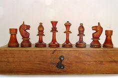 Soviet Wooden chess. Wooden soviet chess set. Vintage chess.