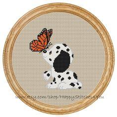 Cross Stitch Pattern PDF dog dalmatian butterfly DD0079