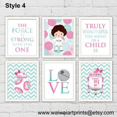 Star Wars Girl Nursery Decor. Rey BB8 Leia by waiwaiartprints