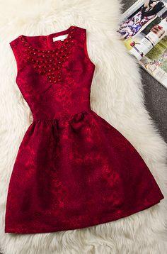 Jacquard Lace Beads Slim Dress