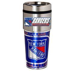 New York Rangers Stainless Steel Metallic Travel Tumbler, Multicolor
