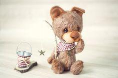 Collectible Artist Teddy Bear OAAK 22cm tall dog by SoftlyBearPaw, $180.00