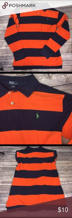 💙Size  XL (20) long sleeve polo by Ralph Lauren Like new, striped long sleeve Polo by Ralph Lauren.  🛍 buy 2+ items and get 25% off your purchase automatically!! 🛍 Polo by Ralph Lauren Shirts & Tops