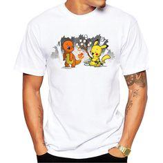 Pikachu Printed T-Shirt Short Sleeve Casual Tops Funny Hipster Men
