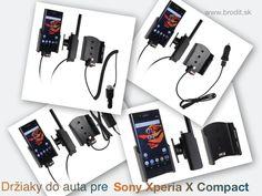 Nové držiaky do auta pre Sony Xperia X Compact. Pasívny držiak Brodit pre pevnú montáž v aute, aktívny s CL nabíjačkou, s USB alebo s Molex konektorom.