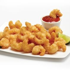 POPCORN SHRIMP. Add a satisfying pop of crunch with this quick and easy go-to snack or party favourite. Crunchy, golden fried shrimp make an easy appetizer your guests will love. Serve these addictive morsels with your favourite dipping sauce. Just pop 'em in your mouth, they are perfect anytime. Kids and adults both love them because they are light, crunchy on the outside, but moist on the inside. #mmmeatshops