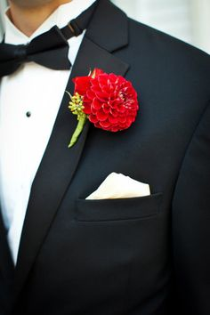 Summer red groomsmen Boutonnieres (each boutonniere is a different flower, but same color)