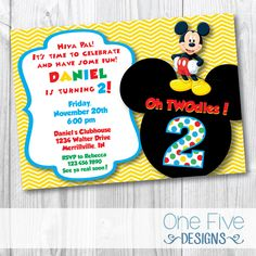 Oh TWOdles Invitations Toodles Mickey Mouse Boy Girl Birthday
