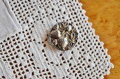 Vintage Pierced Metal Strawberry Button Silver Strawberry