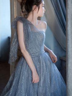 One shoulder party dress blue evening dress shiny