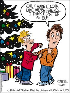 The #kids are on alert! | Read Moderately Confused #comics @ www.gocomics.com/moderately-confused/2014/12/22?utm_source=pinterest&utm_medium=socialmarketing&utm_campaign=social-pin | #GoComics #webcomic #Christmas