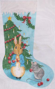 Kate Dickerson Needlepoint stocking ~ bunny & mouse with cranberries