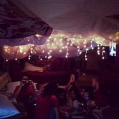 Blanket fort slumber party for my 16th birthday party. Best ever.