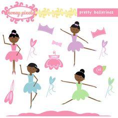 Finally an african american little girl. Pretty Ballerina Clipart Set by honeypixels on Etsy, $5.50