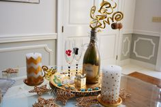 Creations, Happy New Year Painted Bottle & Tray New Years Eve Dinner, New Years Eve Party, Planes Party, Paint Buckets, New Years 2016, After Christmas, Life Organization, Happy New Year, Champagne