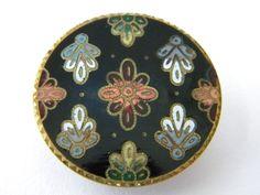 Antique vintage enamel metal button brass victorian large cloisonne champleve