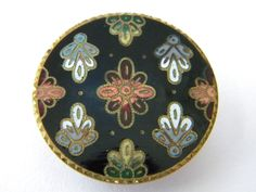 Antique vintage enamel metal button brass victorian large cloisonne champleve