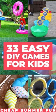 33 DIY Backyard Games for Kids. Looking for fun activities for your kids this summer? Check out this collection DIY games to make at home - with budget-friendly Dollar Store materials! Entertain your kids ( Birthday Games For Kids, Kids Party Games, Diy Games, Best Games For Kids, Outdoor Birthday Games, Diy Yard Games, Birthday Activities, Carnival Birthday Parties, Backyard Games Kids