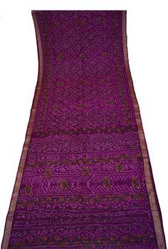Indian Antique  Beautiful Vintage Pure Silk Saree with Printe work Women Dress Sari Soie Antique Decorative Recycle Material 5YD Sari-ASS565