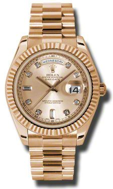 Rolex Day-Date II President Pink Gold - Fluted Bezel - Style No: 218235 chdp