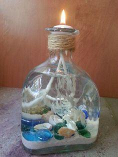 Liquor Bottle Repurpose--Coastal Candle | Hometalk