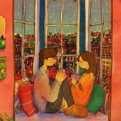 Rainy Day by Puuung Love Cartoon Couple, Cute Couple Art, Cute Couples, Cute Love Stories, Love Story, Couple Illustration, Illustration Art, Puuung Love Is, Art Anime