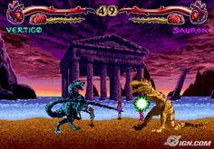Primal Rage - Sega.I loved this crazy ass game. I always wanted to be Vertigo. Or Diablo.