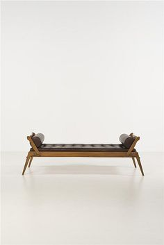 René-Jean Caillette; Oak and Leather Daybed for Charron, c1950.