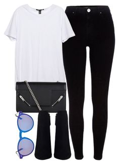 """Untitled #6610"" by laurenmboot ❤ liked on Polyvore featuring River Island, Yves Saint Laurent and Topshop"