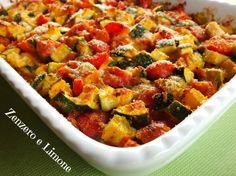 zucchine e pomodorini al forno con mozzarella