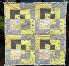 Grey and Yellow bento box baby quilt, http://perrymoffitt.com/2013/09/24/yellow-and-grey-baby-quilts/
