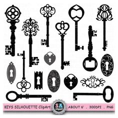 "Keys Silhouette ClipArt "" KEY SHIHOUETTE "" clip art, Black Skeleton... ($5) via Polyvore featuring accessories"
