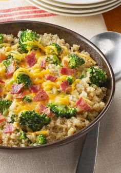 Quinoa with Broccoli, Cheese & Bacon — This risotto-style dish with broccoli florets, cheese and chopped bacon is made with toasty, nutty quinoa is delicious!