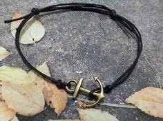 bronze anchor men bracelet with black wax cord - adjustable men's bracelet - small charm bracelet for men - gift for him, for men Nautical Bracelet, Groomsman Gifts, Bracelets For Men, Groomsmen, Gifts For Him, Wax, Hoop Earrings, Bronze, Charmed