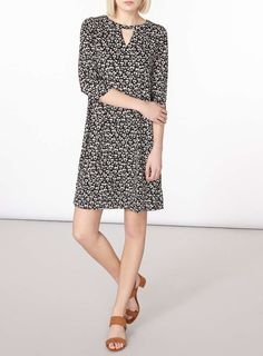 Womens Animal Print Swing Dress- Black