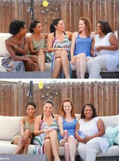 Jerrika Hinton (Stephanie Edwards), Kelly McCreary (Maggie Pierce), Sara Ramirez (Callie Torres), Sarah Drew (April Kepner) & Chandra Wilson (Miranda Bailey). Grey's Anatomy. [Sara's Instagram]