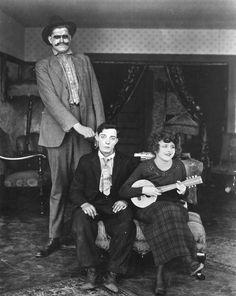 "Ingram ""Seven Foot"" Pickett, Buster Keaton and Bartine Burkett in  The High Sign (1921)"