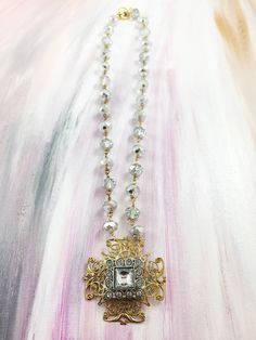 """Beaming Face"" - 1960's rhinestone square over antique brass filigree on silver faceted beaded chain"