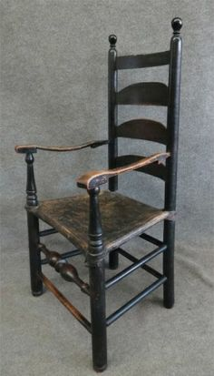 Ladderback Armchair In Black Paint