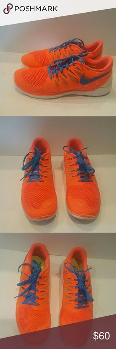 NIKE US 14 mens running sneakers NIKE  MENS RUNNING SNEAKERS TRAINERS SIZE 14 NEON ORANGE WHITE BLUE LIKE NEW NIKE FREE 5.0 Small mark on front Not noticeable Beautiful shoes Nike Shoes Athletic Shoes