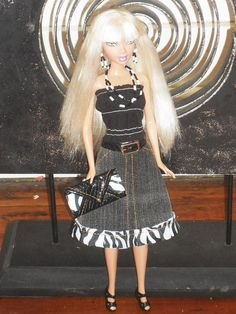 Barbie Doll Clothes - Belted Denim Skirt, Gathered top and Handbag made from recycled clothing via Etsy
