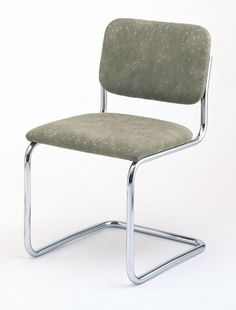 """Cesca Side Chair (1928) are used in restaurants and homes worldwide.  Price: $1,233.00USD  Measurement: H 31.5"""" W 18.5"""" D 23.5"""" Sear H 17.75""""  Materials: Tubular steel frame with chrome-plated finish; molded plywood with foam cushion and Spinneybeck® Volo leather upholstery."""