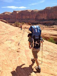 Moab Hiking: Corona Arch Trail: Fixed ropes ©2012 Middle Aged Ski Bum