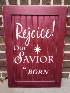 Hand painted sign  Rejoice Our Savior is born by BlessedHomeDecor