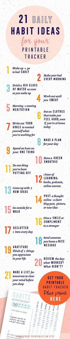 21 ideas for good habits that you can build and track with your printable habit tracker. They'll make you happier, healthier, more organised and bring you closer to your goals. Have more fun bringing your dreams to life! (How To Build A Shed On Concrete) Journal Download, Self Development, Personal Development, Bujo, Evening Meditation, Life Hacks, Kundalini, Mental Training, Good Habits