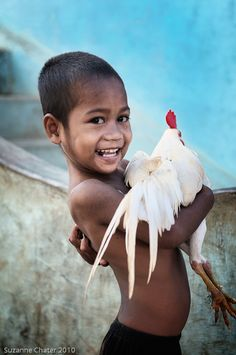 Boy with his Rooster, Komodo Island, Indonesia