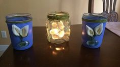 Decorated and painted mason jars