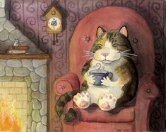 Curled Up by the Fire by Turiel on DeviantArt Crazy Cat Lady, Crazy Cats, I Love Cats, Cute Cats, Tea Art, Here Kitty Kitty, Coffee Art, Children's Book Illustration, Funny Art
